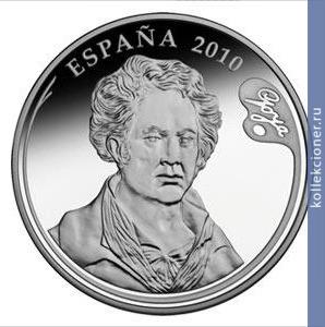 10 евро испания 2010, гойя, маха обнаженная графин рыба